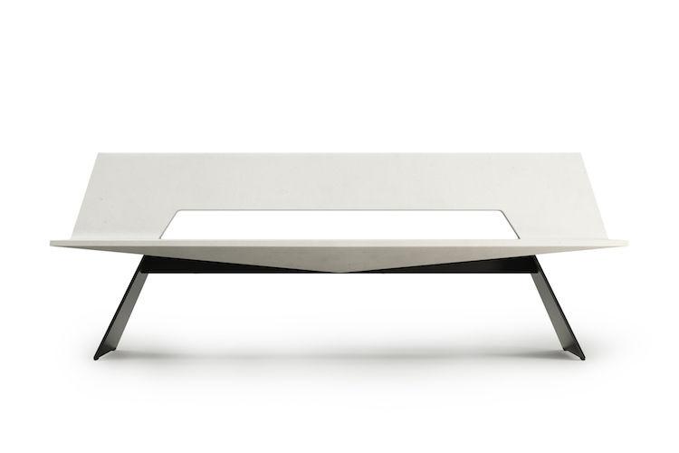 Elegant cantilevered concrete bench
