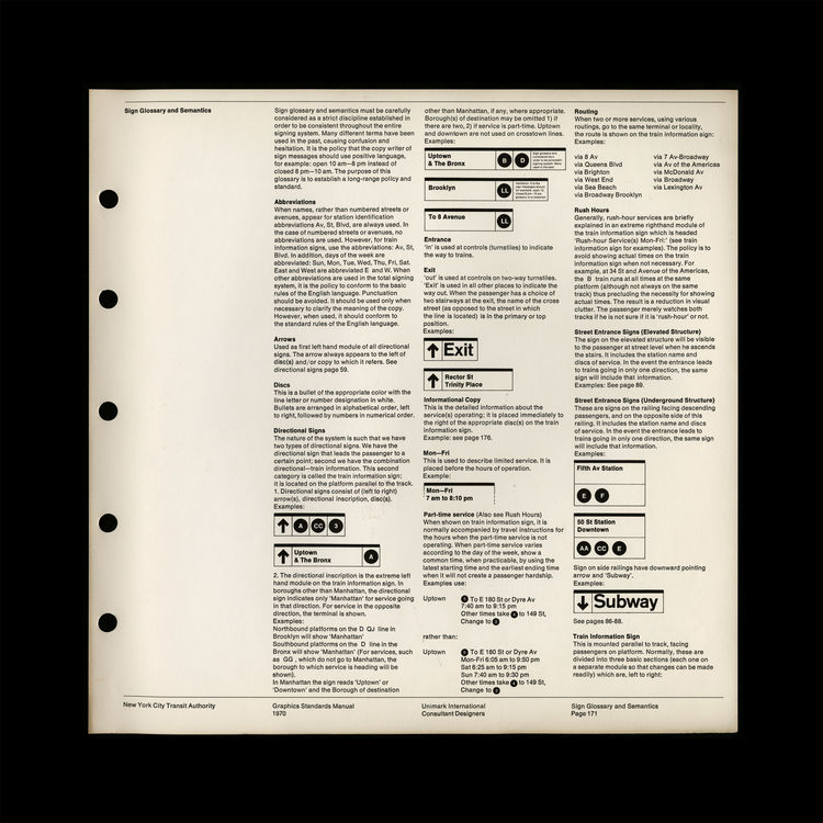 New York Transit Authority Graphics Standards Manual graphics analysis