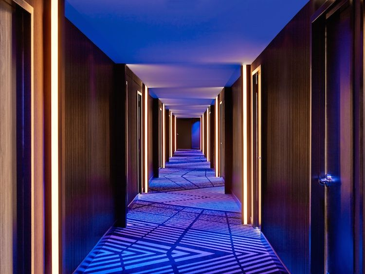 Guest hallway at the W Lakeshore Hotel