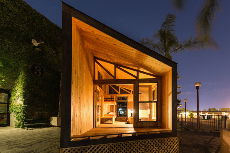 Wood prefab cabin entrance