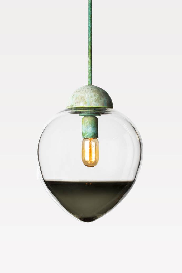 Blown glass Acorn Pendant light by Mary Wallis Studio