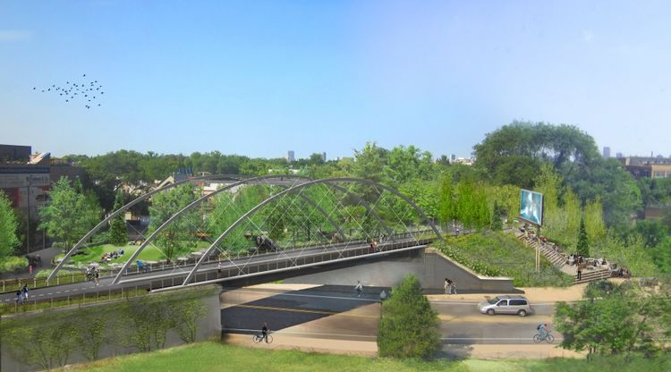 Rendering of Milwaukee Avenue Crossing for the 606 elevated park in Chicago