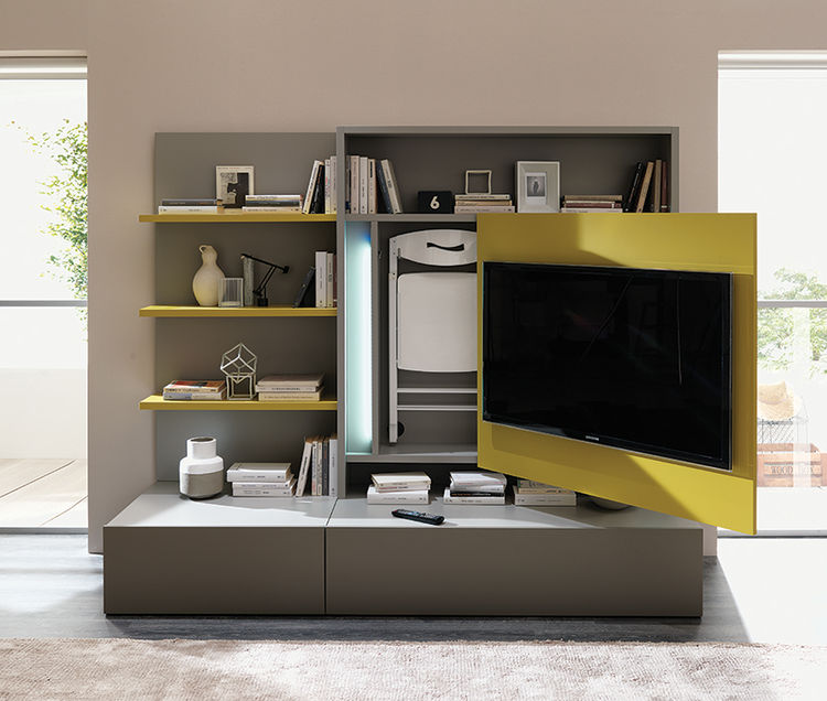 Media unit with dining table hidden behind TV