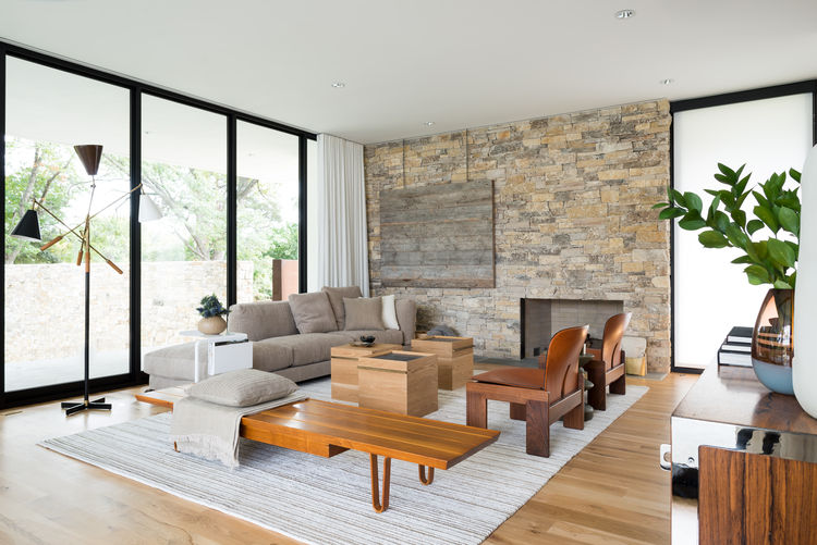 Modern Texas family room with midcentury modern furniture