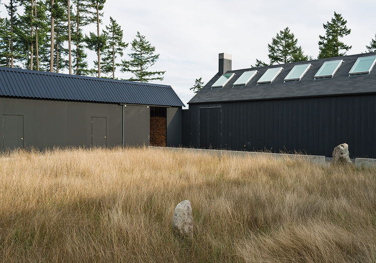 Black exterior of Orcas Island modern home with native grasses