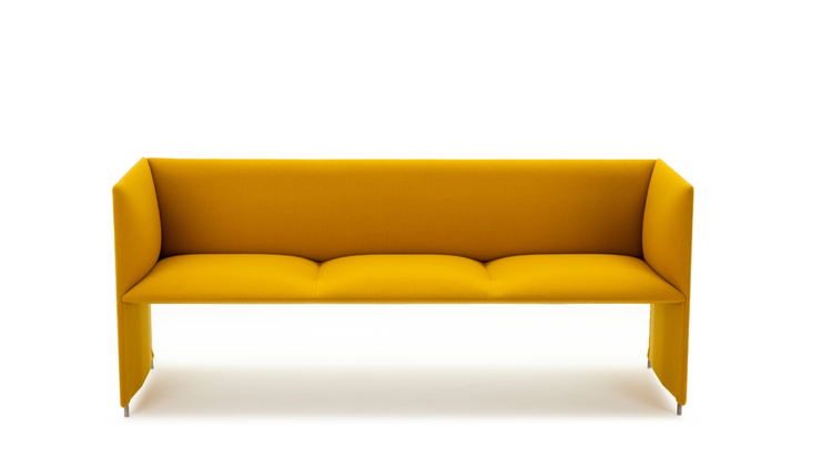 Yellow streamlined sofa by Anderssen Voll for LK Hjelle