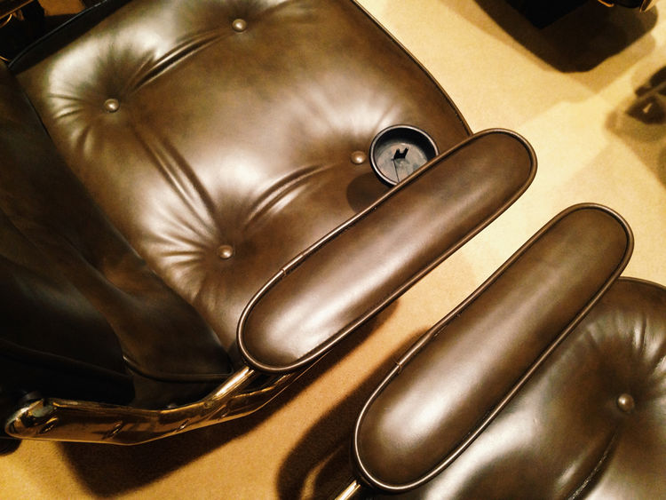Charles Eames brown leather executive chair in the auditorium of the Ford Foundation in New York City