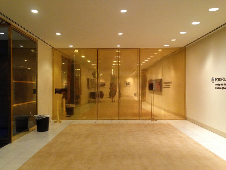 Warren Platner gold-plated auditorium doors at the Ford Foundation in New York City