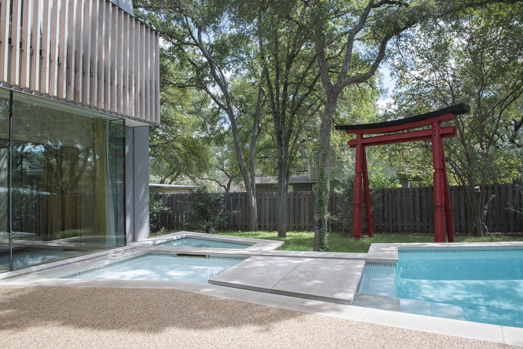 Modern pool with Japanese influences