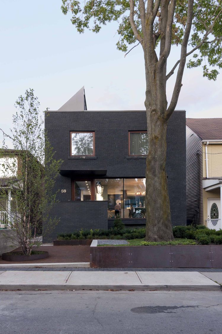 Toronto box home with dark gray facade