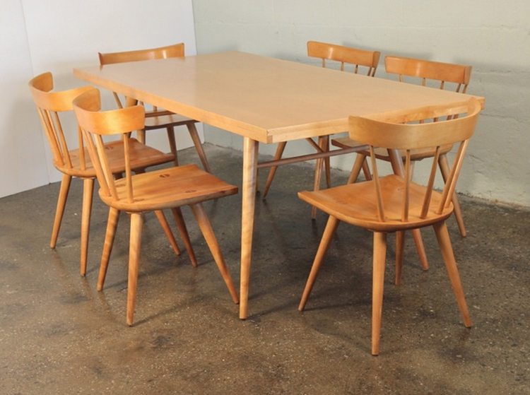 Paul McCobb's midcentury modern Planner Group series dining table and chairs in birch