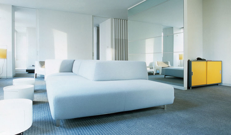 The Standard Downtown Los Angeles interiors with white sofas