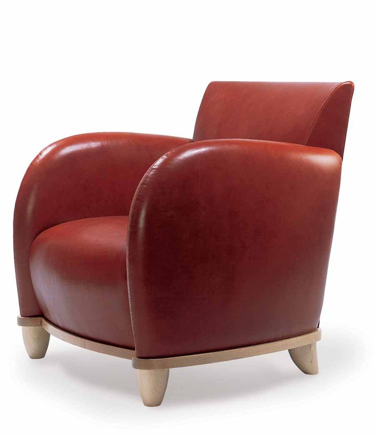 Red leather Ellington armchair by Michael Graves