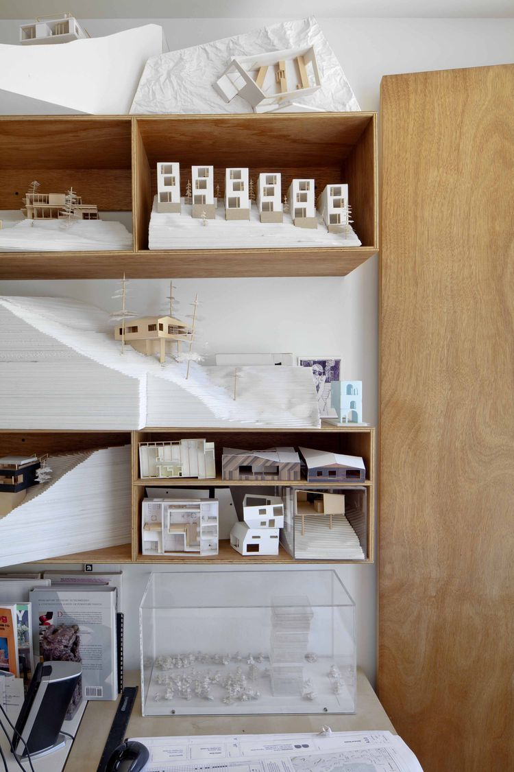 Architect's home office with hand-made models.