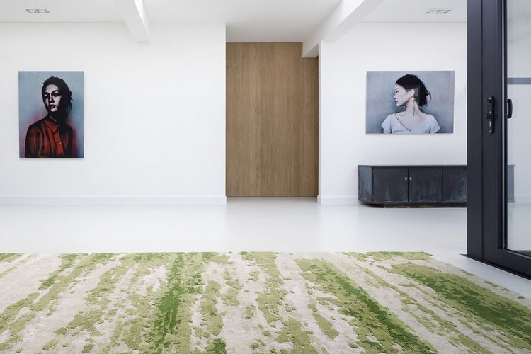 Amsterdam house with mossy green custom carpet