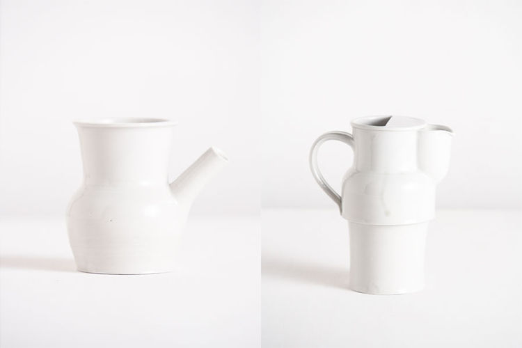 Matthais Kaiser white porcelain pitcher and vessel