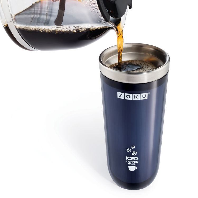 The Zoku Iced Coffee Maker cools 11 ounces of coffee.
