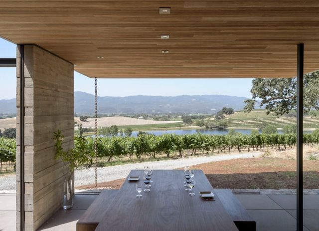 modern pavilion in the Napa Valley made from wood and concrete