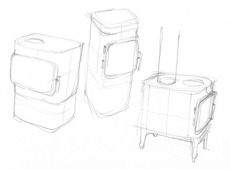 Sketches of the cast-iron stove designed by Torbjørn Anderssen and Espen Voll.
