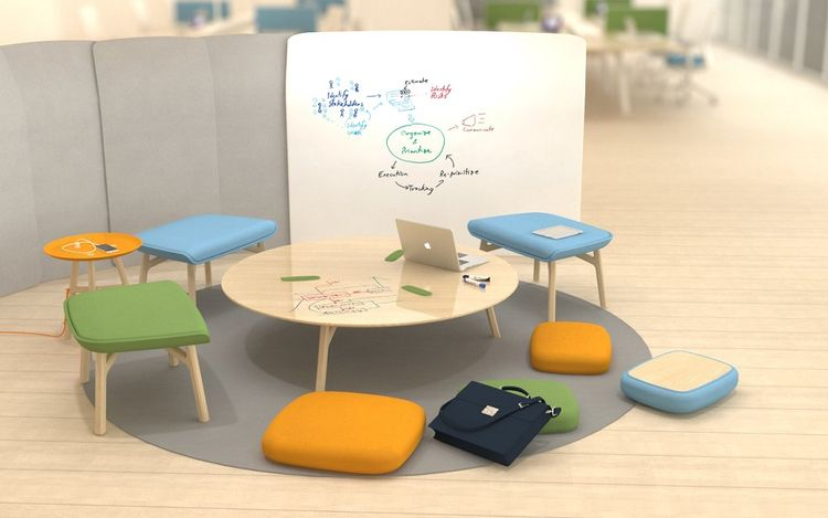 Office concept with flexible table and stools