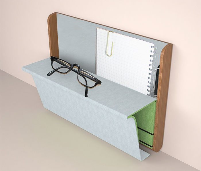 Flip-out office desk with storage space