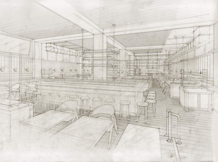 Roman and Williams New York City restaurant sketch for Upland with leather, wood, and copper interior