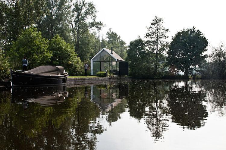 Island prefab cabin on a lake