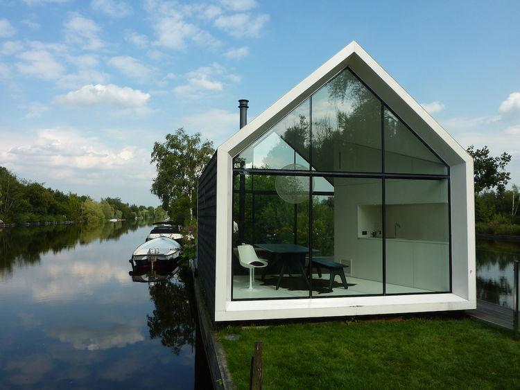 The Island House Prefab Cabin glass gabled exterior