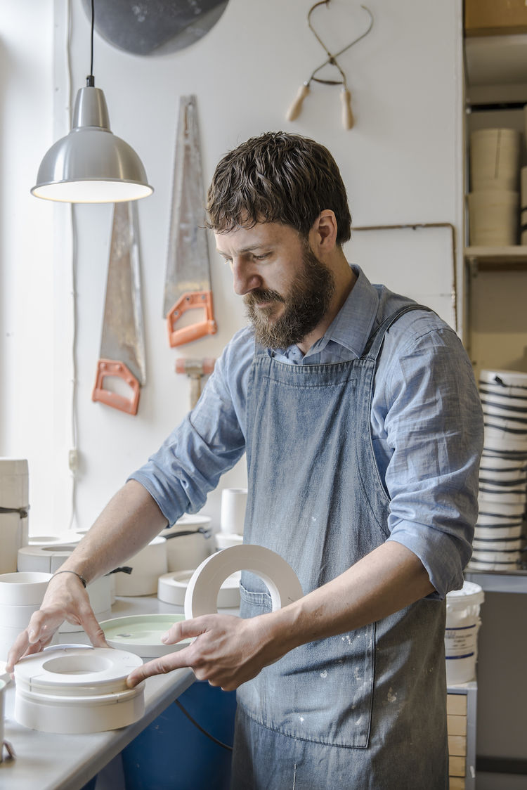 Danish ceramicist Lars Rank at his Copenhagen studio.