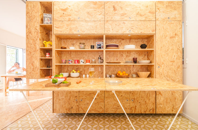 Small modular kitchen with particleboard countertop