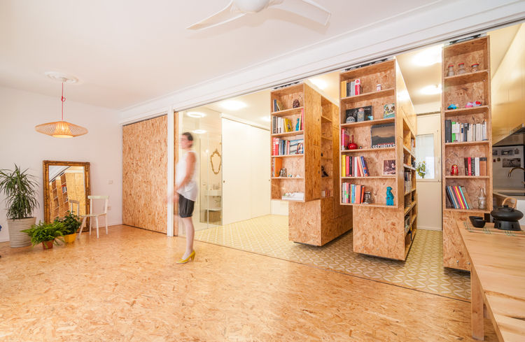 Particleboard shelves that can be repositioned in tiny home