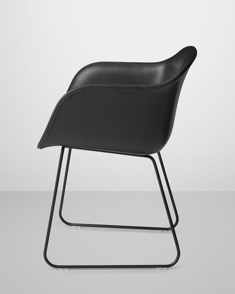 Fiber Chair by Iskos Berlin for Muuto in black leather with sled base