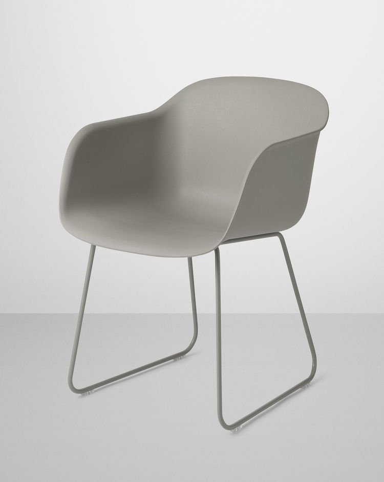 Fiber Chair by Iskos Berlin for Muuto in gray composite with gray sled base