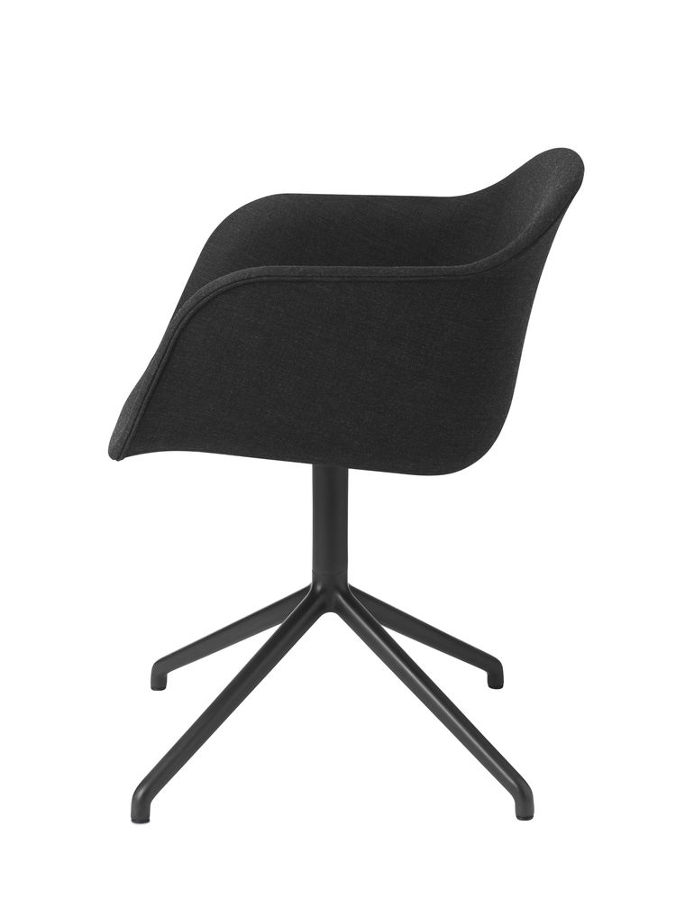 Fiber Chair by Iskos Berlin for Muuto in black upholstered seat with swivel base