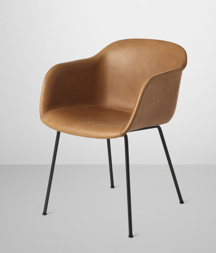 Fiber Chair by Iskos Berlin for Muuto in leather and tube base