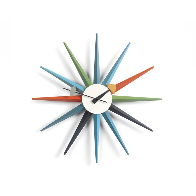 Multicolor sunburst wall clock from Vitra and George Nelson