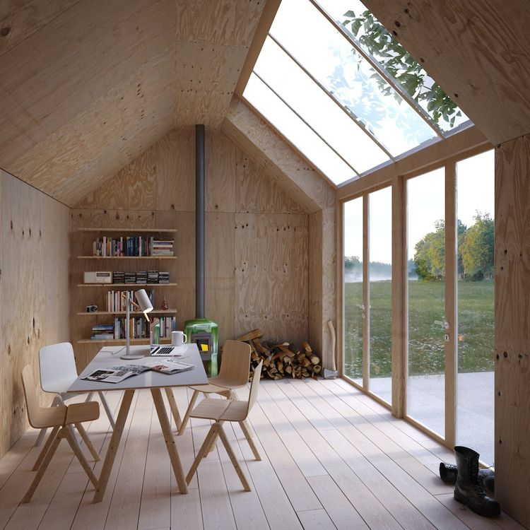 Swedish artist's studio in plywood with skylight