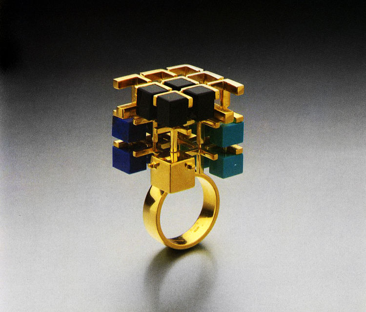 Barbara Radice Jewelry by Architects, Rizzoli, 1988, featuring a geometric ring by Peter Eisenman
