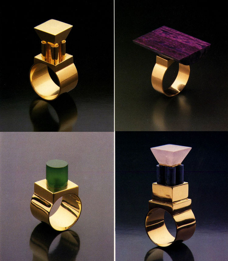 Barbara Radice Jewelry by Architects, Rizzoli, 1988, featuring rings by Hans Hollein for Cleto Munari
