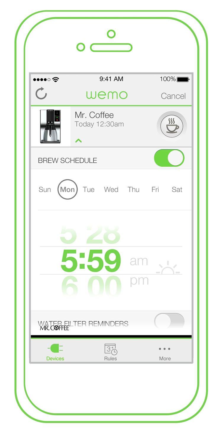 WeMo Coffee app.