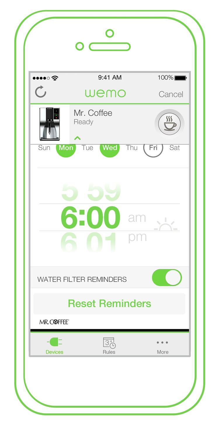 WeMo Coffee smartphone app push notification.