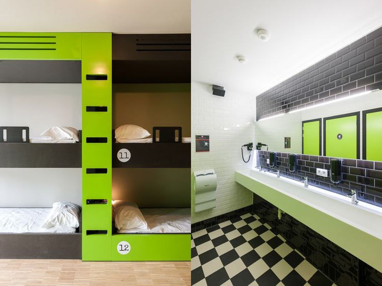 Guest rooms and bathroom in Backstay Hotel in Ghent, Belgium