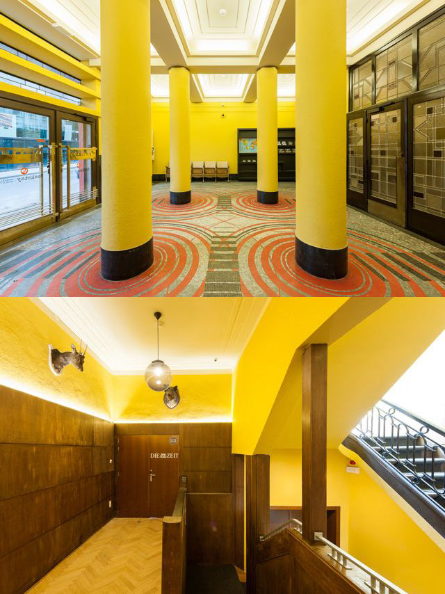 Yellow public spaces in Backstay Hotel in Ghent, Belgium