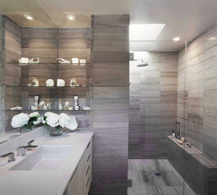 Master bathroom with grey haisa stone tiles