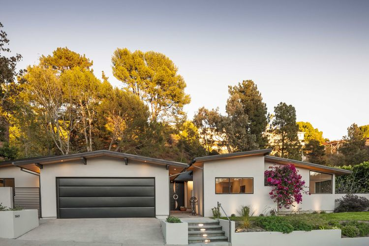 Midcentury home in Brentwood with renovated gabled roofline