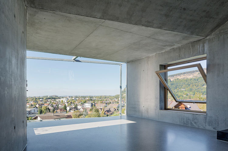 Camera Lucida artist's studio in Austria with windows overlooking the valley