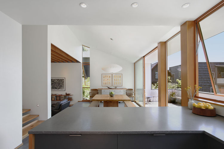 Modern Seattle dining room with George Nelson pendant