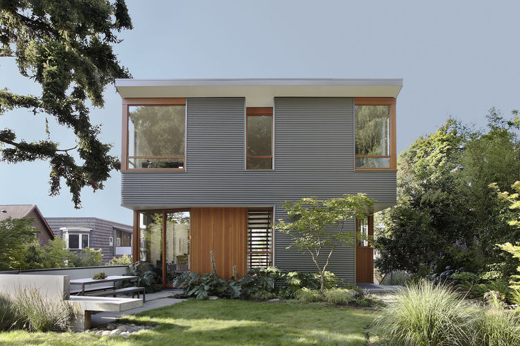 Seattle house with corrugated metal cladding and Douglas Fir details