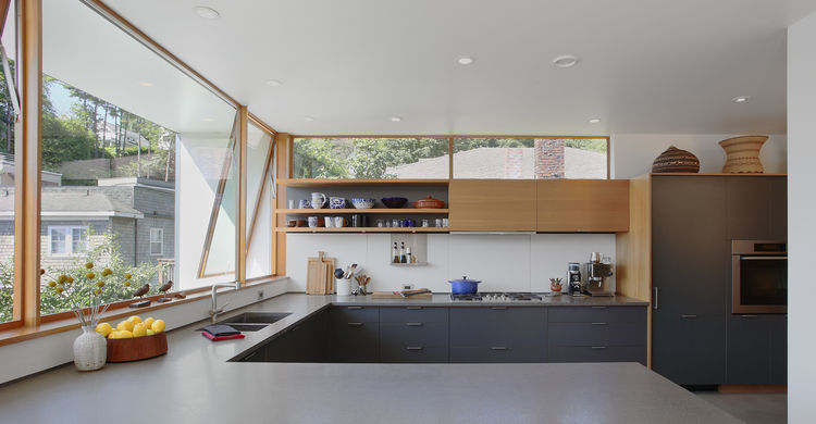 Modern Seattle kitchen with slate gray cabinets