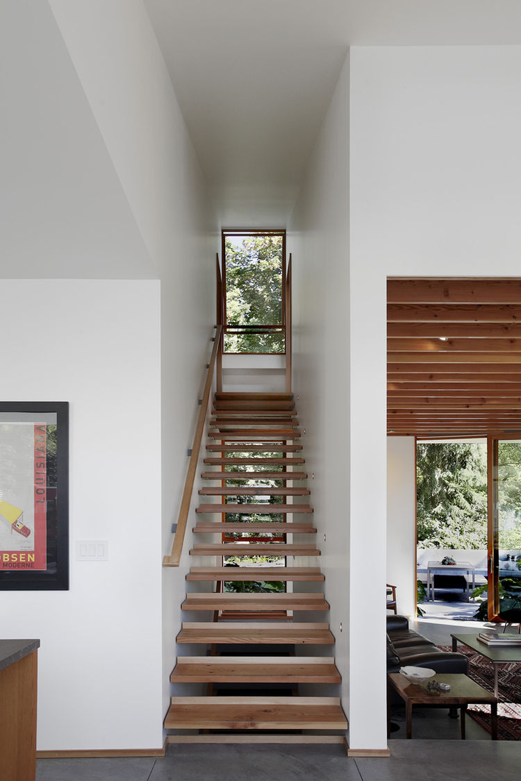 Modern Seattle home with salvaged wood stairs